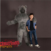 Christmas Long Fur Inflatable Werewolf Mascot Costume Black Wolf Party Dress New