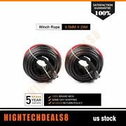 Synthetic Winch Line Cable Rope 20500lb 3/8 X 95and039 Off-road Atv Utv Black 2pcs