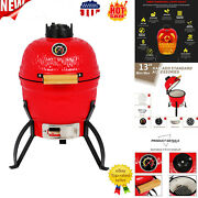 13in Round Ceramic Charcoal Grill Orange Kamado Style Energy Saving Outdoor Bbq