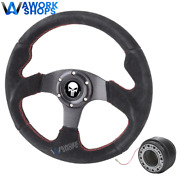 For 94-01 Integra 320mm Red Stitch Black Suede Steering Wheel W Punisher And Hub