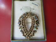 Old Vintage Antique Sherman Brooch Rhinestone Signed Costume Jewelry W/ Tags