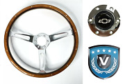 15 3-spoke 6 Hole Steering Wheel W/ Real Walnut Wood Grip And Chevy Horn Button