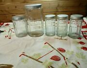 Vtg Hoosier Sellers Coffee, Tea And 3 Spice Jars Canister Set Of 5 Clear Paneled