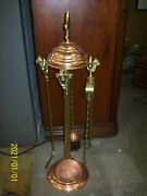Antique Brass And Copper Fireplace Set 4 Piece Tools