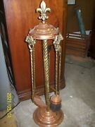 Antique Copper And Brass Fireplace Set 4 Piece Tools