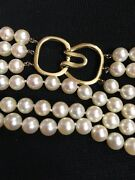 Vintage 7/7.5 Mm 3 Strand Cultured Pearl Choker Necklace 14k Yellow Gold Clasp