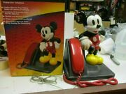 Vintage 1990and039s Mickey Mouse Corded Land Line Touch Tone Telephone At And T Design