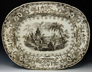 Antique And039syrianand039 Transferware 20 Platter George And Ralph Leese Camel Boats C1841