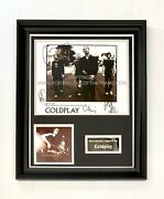 Coldplay Stunning Hand Signed Music Photo In Handmade Display Direct From Pa