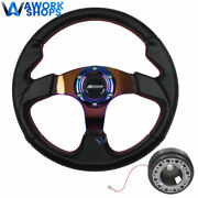 For 94-01 Integra 320mm Carbon Steering Wheel Neo Spoke W/ Spoon And Hub
