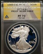 1988-s Anacs Pr70 Dcam Proof American Silver Eagle 1 Pf70 Top Ebayer Since 2005