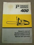 Vtg. Pioneer Partner 400 Chainsaw Owner's Manual Book + Illustrated Parts List