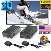 Lot Hdmi Lan Extender Repeater Over Single Cat5e/6 Rj45 Up To 200ft 60m 1080p 3d