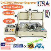 Usb 4 Axis Cnc 6090t Router Engraver 3d Carving Mill Machine 2200w + Tool Sensor