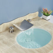 Widespread Brass Waterfall Bathroom Sink Faucet Brushed Nickel 3 Hole Mixer Tap