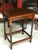Antique Occasional Table, Beech And Elm, Barley Twist Legs [7179]
