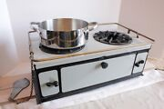 Antique Sterno Speed Stove Porcelain And Brass Burns Sterno Fuel Canisters C.1925