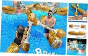 8 Pcs Battle Log Rafts Inflatable Pool Float Row Toys For 4 Players Adults