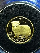 1989 Isle Of Man 1/25 Oz Gold Persian Cat Crown Coin