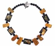 Signed Modernist Tk Sterling Silver Amber Hand Painted Safari Animal Necklace