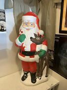 Tpi Plastic Blow Mold Lighted Santa Claus With Reindeer Outdoor Decor 40