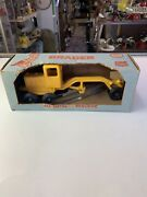 Vintage Slik-toy Yellow Road Grader Toy 1950's In Box Usa Fantastic Look
