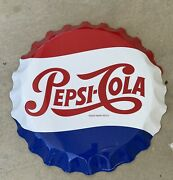 Metal Pepsi Cola 27 Inch Bottle Cap Sign Reproduction Stout Mfg Made In Usa