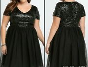 Nwt- Torrid Special Occasion Solid Black Sequin And Tulle Party Dress Size 18