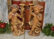 Vintage Pair Italian Cherubs Statues Candle Holders Carved Wood Painted Gilded