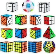 Speed Cube Set 15pc Bundle Multiple Types Stickers Puzzle Collection Adults Kids