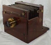 W. Watson And Sons London 6 1/2 X 8 1/2 Full Plate Sideboard Camera W/ Brass Lens