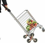 Luckyermore Folding Shopping Cart Grocery Trolley Stair Climber Basket Laundry