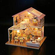 Doll House With Furniture Full Set Wood Cottage 3d Puzzle For Girls Gift Toy
