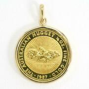 Australian Nugget 1/4oz Coin 24k Yellow Gold 18k Pendant Top Free Shipping Used