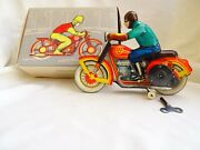 Vintage Russian Ussr Clokwork Tin Toy Motorcycle With Authentic Box Circa 1970
