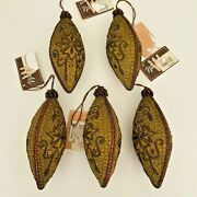 Winward Holiday Christmas Ornaments Set Of 5 Embroidered Teardrop Victorian