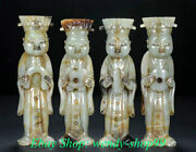 5 China Natural Hetian Jade Carved Dynasty Palace People Soldier 4 Statue Set