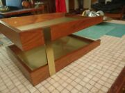 Vintage Mid Century Mcdonald Duk-it Solid Walnut And Brass Letter Trays