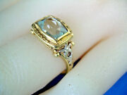 1920s Antique Victorian Deco Aquamarine Ring Solid 14k Yellow And White Gold 5.2