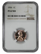 1956 Proof Lincoln Wheat Cent Penny 1c Ngc Certified Pf 67 Rd