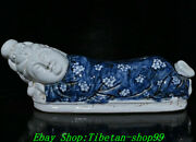 Old China Yuan Dynasty Blue White Porcelain Guanyin Buddha Pillow Weeping Willow