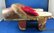 Antique Japanese Geta Snow Sandals Wooden Shoes Metal Spikes Straw Sole Brass