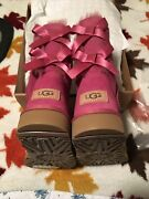 Ugg Bailey Bow Ii Dark Dusty Rose Suede Fur Boots Womens Size 7 New In Box