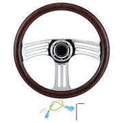 Steering Wheel Wood Steering Wheel 350mm/14in Durable Auto Parts Fits For Kits