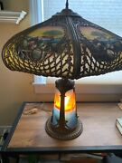 Unique Large Antique Reverse Painted With Lighted Base Glass Panel Lamp