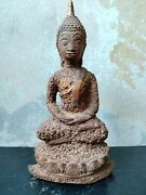 Thai Laterite Buddha Statues In Thailand Seated Sitting Antique Meditation