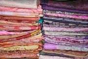 Lot Of 5 To 100 Pic Vintage Indian Saree 100 Pure Silk Fabric Craft Used Art