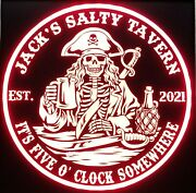 Custom Pirate Skeleton Whiskey Led Sign Personalized, Home Bar Sign, Beer, Rum