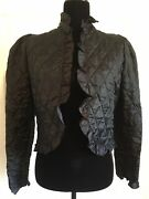 You Babes 70andrsquos Victorian Black Quilted Jacket Rare Vintage Ruffle Trim Puff Coat