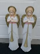 """Set Of 2 Blow Mold Tpi Trumpet Angels With Horns Christmas Outdoor 34"""""""